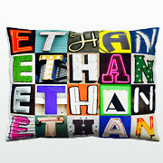 Personalized Pillow Featuring The Name Ethan In Photos Of Actual Sign Letters