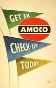 Original Vintage Auto Poster Get An Amoco Check-up Today By Lucian Bernhard 1950