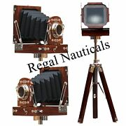 New Antique Vintage Look Film Camera Wooden Tripod Collectible Studio Gift Item