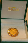 Austrian 4 Florins 10 Francs Gold Coin Set In Handcrafted 18k Solid Gold Brooch