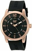 Cat Watches Men's 'hardware' Quartz Stainless Steel And Silicone Watch,black