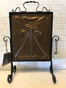 Antique Art Nouveau Copper And Wrought Iron Fire Screen W/ Abstract Decoration