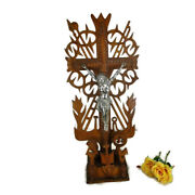 Tramp Trench Tramp Folk Art Standing Hand Carved Wooden Crucifix Rooster Htf