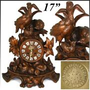 Large Antique Black Forest Carved 17 Mantel Clock, Three Game Birds And Foliage