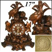 Large Antique Black Forest Carved 17 Mantel Clock Three Game Birds And Foliage