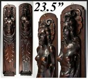 Antique French Carved Wood Caryatid Figures 23.5 Tall Cabinet Fragment Accent