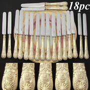 Antique French 18pc 18k Gold On Sterling Silver Vermeil 8 Knife Set Armorial