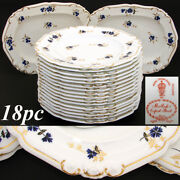 Antique Royal Crown Derby 10.5 Plate Set 14pc With 2pc Serving Dishes C. 1899