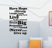 Extra Large Have Hope Be Strong Wall Art Quote Sticker Wa048 Size 92cmx60cm