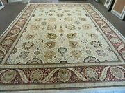 9and039 X 12and039 Vintage Hand Made Wool Rug Pakistani Floral Design Nice Vegetable Dye