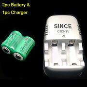 Cr2 3v Battery Charger + 2pc Ultrafire 800mah Rechargeable Lithium-ion Batteries