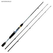 Spinning Casting Fishing Rod Carbon Fibers Tip Lure Gold Metal Blue Ultra Light