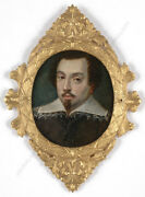 Portrait Of A White-collared Gentleman Oil On Copper Miniature 17th Century