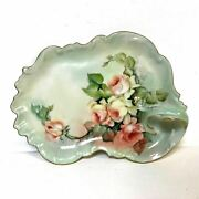 Limoges Porcelain Leaf Shaped Vanity Tray With Gold Rim And Hand Painted Roses