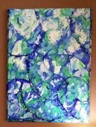 Andnbspcontemporary Original Modern Abstract Painting On Beveled Canvas Water Lily
