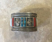 1970and039s Private Collection Zuni Mother Of Pearl Coral Turquoise Sterling Bracelet