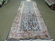 3and0397x 10and039 Antique Hand Made India Floral Oriental Wool Runner Rug Organic Blue