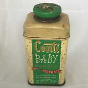 Vintage Conti Baby Powder With Olive Oil Tin Made In Usa Small Collectible Tin