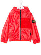 Stone Island Junior Red Zipped Hooded Lamy Cover Jacket 681641230