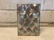 Antique Mother Of Pearl Card Case With Floral Decorations