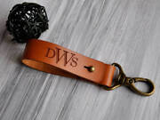 Custom Leather Keychain Monogrammed Key Chain Personalized Key Fob Gift For Dad