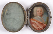 German Traveling Case With Oil On Copper Miniature Portrait, 1725/35