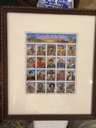 Legends Of The West Stamp Sheet Framed And Matted, Reverse View, Mint