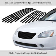 Fits 2002-2004 Nissan Altima Bumper Stainless Black Billet Grille Insert Combo