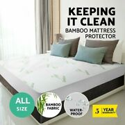 Cotton / Bamboo Fibre Waterproof Mattress Cover Protector Fully Fitted All Size