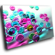 Ab057 Pink Blue 3d Marbles Modern Abstract Canvas Wall Art Large Picture Prints