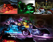 10pc 18 Color Led Wireless Remote Cross Roads Motorcycle Led Strip Light Kit