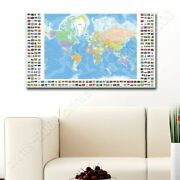 Political Modern Flags 1 By World Map   Poster Or Wall Sticker Decal   Wall Art