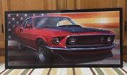 Ford Mustang Street Racing Rat Rod Man Cave American Flag Garage Gas Oil Parts
