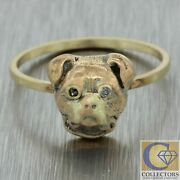1880s Antique Victorian Solid 14k Yellow Gold Bulldog Pug Face Conversion Ring
