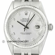 Mens Rolex Datejust 18k White Gold And Stainless Steel Silver Diamond Dial Watch