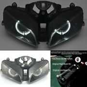 White Angel Eyes Hid Projector Headlight Assembly Fit For Honda Cbr600rr 03-2006