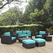 Modway Convene 8 Piece Outdoor Patio Sectional Set In Espresso Turquoise