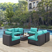 Modway Convene 7 Piece Outdoor Patio Sectional Set In Espresso Turquoise