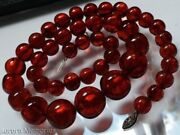Vintage Natural Amber Necklace Large Round Cognac Beads Victorian Sterling 72g