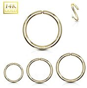 14kt Solid Yellow Gold Bendable Seamless Hoop Nose Ring Labret Septum Tragus
