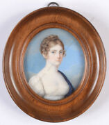 Aristocratic Woman In White Empire Gown, High Quality German Miniature 1810/15