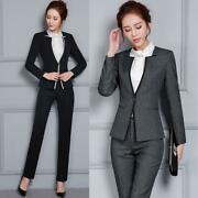 Women's Formal Business Court Suits Slim Fit Office Jacket And Pants Blazer New