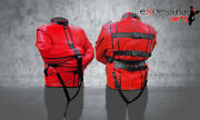 Leather Men Straight Jacket Red Color With Black Piping Return Accepted In Usa