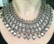 Vintage Heavy Bib Choker Indian 925 Sterling Silver Signed Ra Tribal 17 Necklace