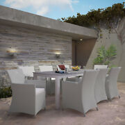 Modway Junction Wicker Rattan Outdoor Patio 9-piece Dining Set In Gray White