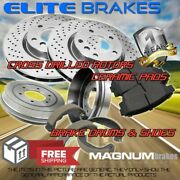 Front Drilled Rotors And Pads And Rear Drums And Shoes For 2012-2014 Chevrolet Sonic
