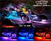18 Color Led Wireless Remote Iron Works 20pc Motorcycle Led Neon Light Kit