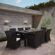 Modway Junction Wicker Rattan Outdoor Patio 9-piece Dining Set In Brown White