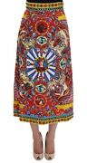 New 8700 Dolce And Gabbana Skirt Red Carretto Print Brocade Crystal S. It40 / S