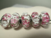 5 Authentic Pandora 925 Silver Charms Beads Pink White Daisy Flower Murano Glass